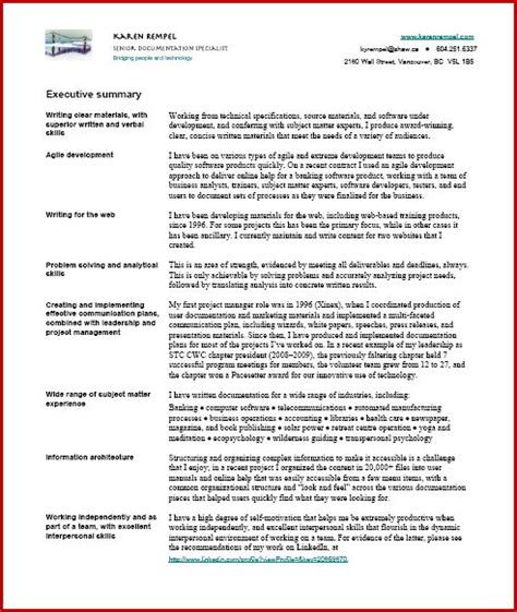 Resume Summary Exles Technical Resume Rempel Vancouver Technical Writer