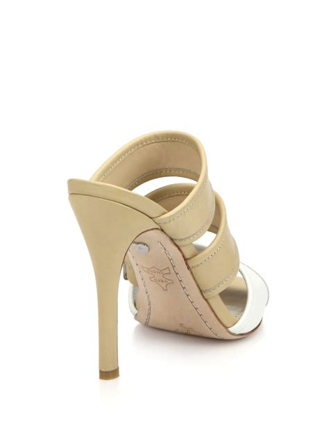 leather mule sandals graciella leather mule sandals in white lyst