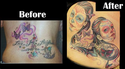 tattoo cover up designs before and after before and after cover up sugar skulls