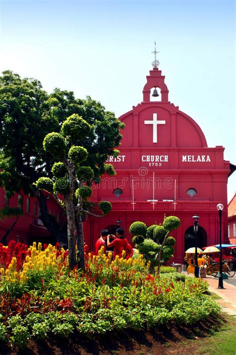 red house christ church  malacca editorial photography