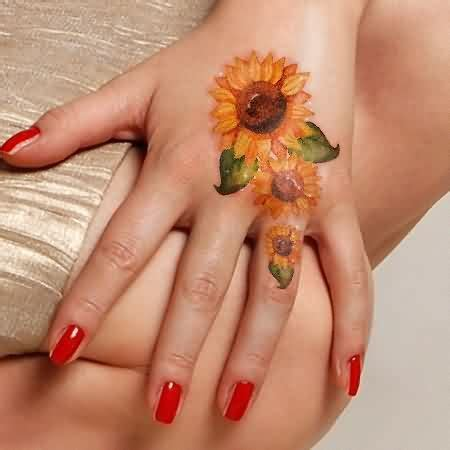 watercolor tattoo hand sunflower tattoos for nail
