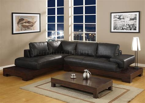 manhattan sectional sofa leather black zebrano platform