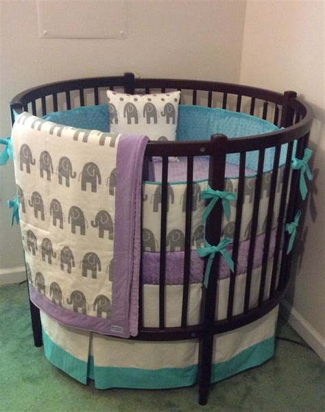 round crib bedding round crib bedding set aqua purple and gray elephant
