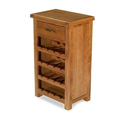 Rushden Solid Oak Furniture Small Wine Bottle Cabinet Rack