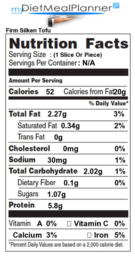 calories in firm silken tofu nutrition facts for firm silken tofu