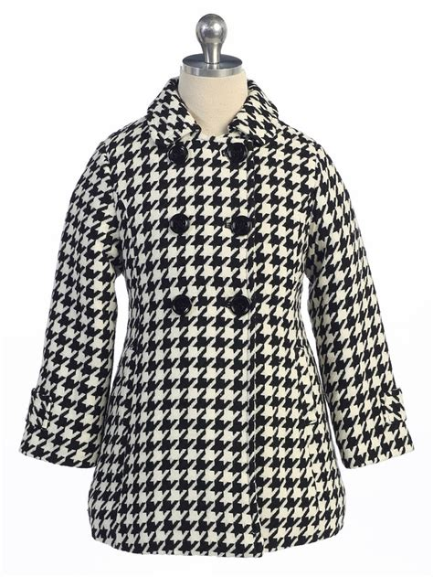 Black And White Pattern Jacket | black white houndstooth pattern kids coat