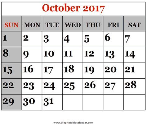 printable calendar 2017 for october october 2017 printable calendars