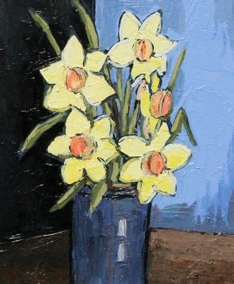 Modern Red Vase Daffodils And Blue Vase By David Barnes Oil 12 X 10