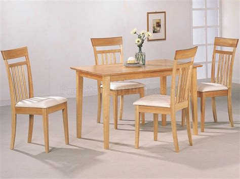 Light Wood Dining Room Furniture Warm Light Maple Wood Finish Modern 5pc Casual Dining Set