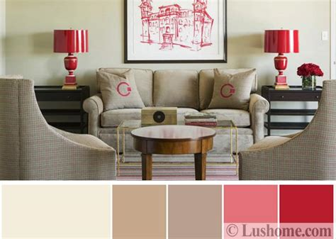 red table for living room modern interior design color schemes beige and red colors