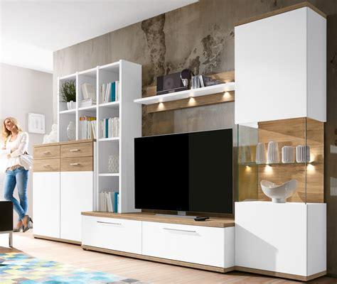 wohnzimmerschrank mit bettfunktion carla moderne anbauwand wohnwand wei 223 sanremo eiche ebay