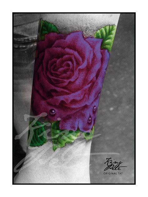 deep red rose tattoo purple print