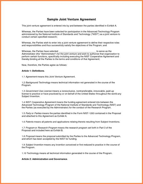 joint venture agreement template doc 10 sle joint venture agreement template purchase