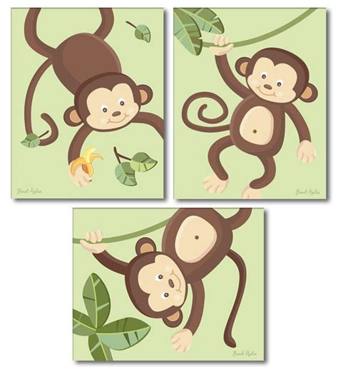 Monkey Prints For Nursery Monkeys Wall Art Nursery Wall Decor Monkey Curtains Nursery