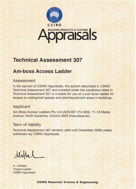 Appraisal Air Letter Csiro Appraisal Csiro Approved Csiro Access Ladders Access Ladders Melbourne