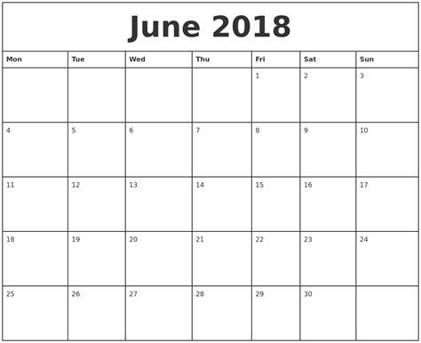 printable calendar 2018 june printable monthly calendar june 2018 larissanaestrada com