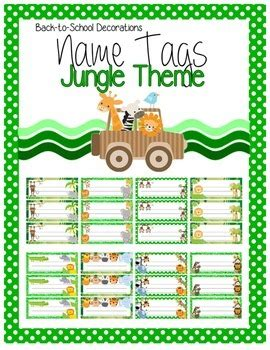 printable zoo animal name tags jungle themed editable name tags by teaching quot tails quot tpt