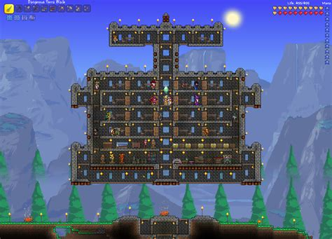 Cool House Blueprints by Terraria Floating Brick Fortress With Traps H3xed