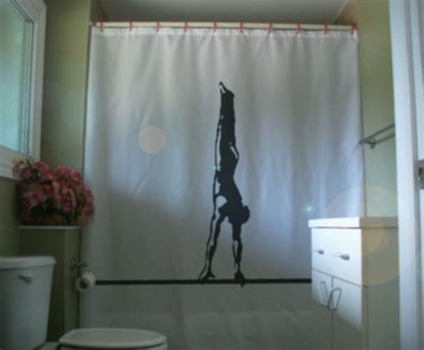 male shower curtains shower curtain male gymnast on bar balance gymnastics