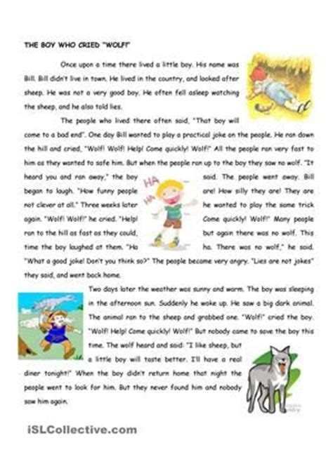 Fables Comprehension Worksheets by The Boy Who Cried Wolf Worksheet Free Printable