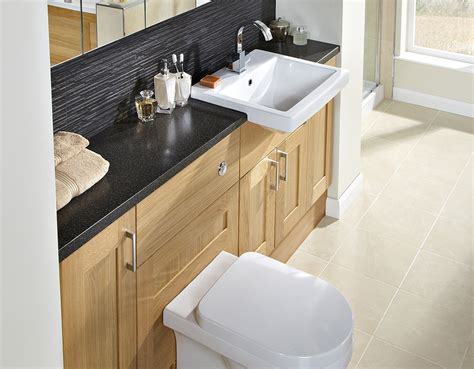 Utopia Timber Golden Oak Cameo Fitted Bathroom Furniture Utopia Fitted Bathroom Furniture