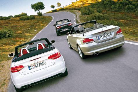 Vergleich A3 Cabrio Bmw 1er Cabrio by Test Audi A3 Cabrio 2 0 Tfsi Bmw 125i Cabrio Vw Eos 2 0