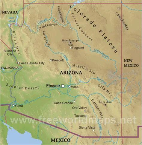 united states map grand arizona physical map of arizona