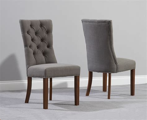 grey parson chairs with buttons formal dining room