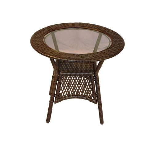 Oakland Living Elite Resin Wicker Round Patio Side Table Patio Side Tables