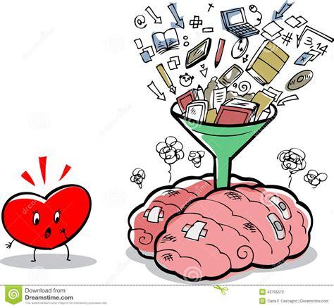 piso joke cervello troppo pieno e cuore preoccupato illustrazione di