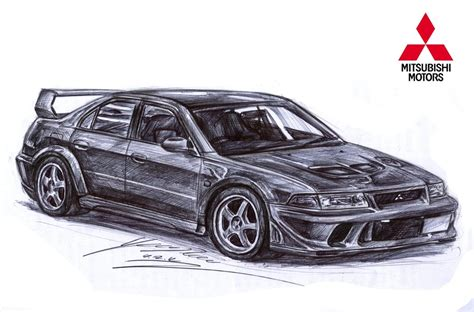 mitsubishi evo drawing mitsubishi lancer evolution 5 gsr drawing by toyonda on