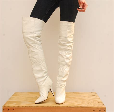 white knee high boots cheap