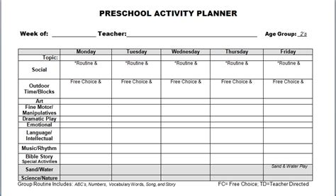 printable lesson plans kindergarten free preschool lesson plan template printable sanjonmotel