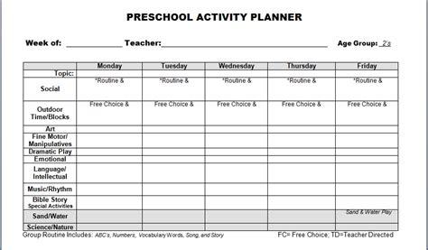 Galerry printable blank lesson plans for preschool