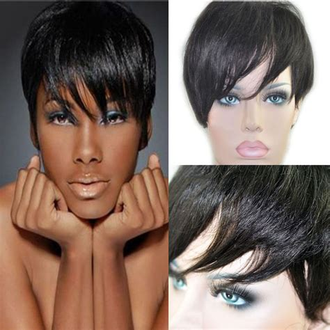 pixie wigs for african american women cheap black women short pixie wigs human natural hair wigs