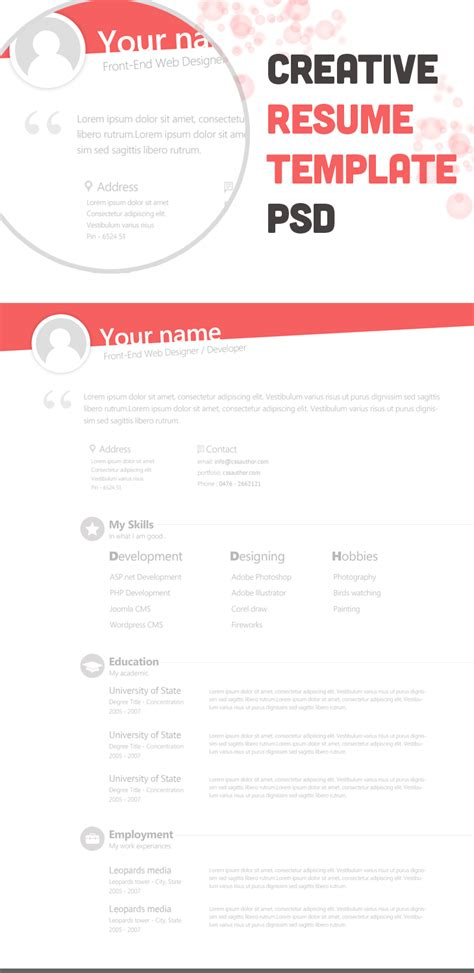 creative resume free templates free creative resume template psd freebie no 67