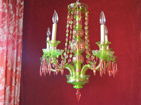 Pink And Green Chandelier Bohemian Chandelier Lighting Pink And Green Cut One