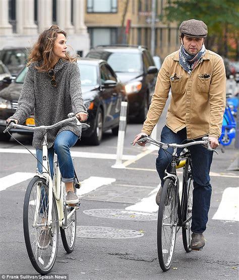 matthew rhys workout keri russell gazes towards beau matthew rhys as they bike