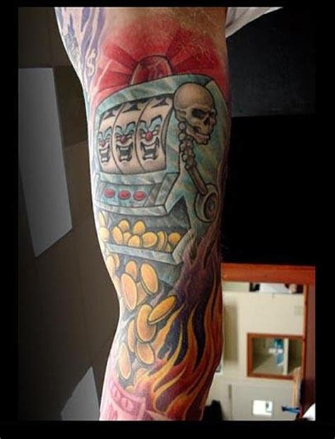 slot machine tattoo flaming slot machine arm tattoomagz