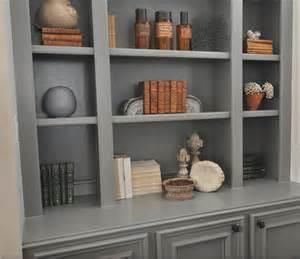 Honey we re home gray built in bookshelves