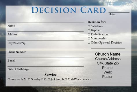 free church visitor card