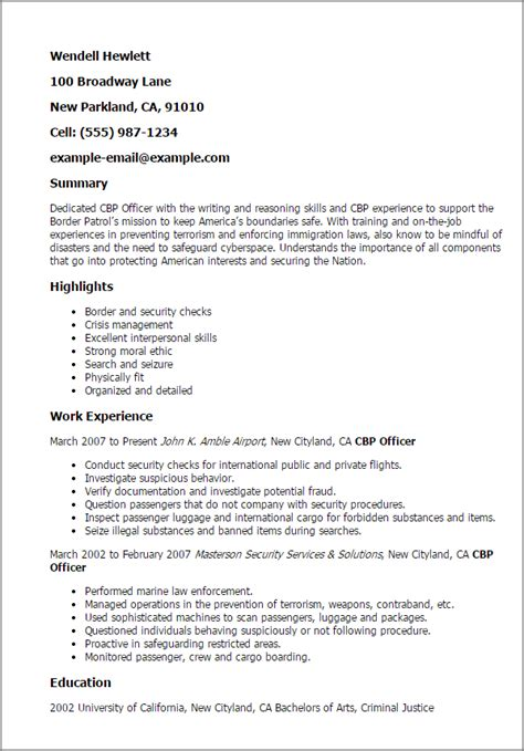 professional cbp officer templates to showcase your talent myperfectresume