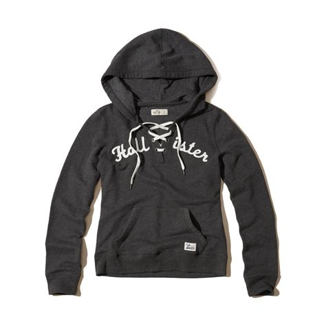 Lace Up Hollister lyst hollister lace up graphic hoodie in gray