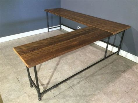 Diy L Shaped Desk Reclaimed Wood L Shaped Desk Made From Reclaimed Farm Wood Gas Pipe Leg Base