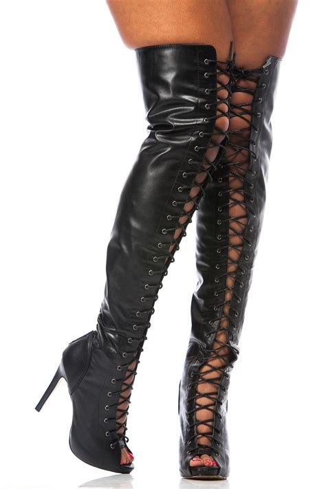 black faux leather thigh high lace up boots cicihot