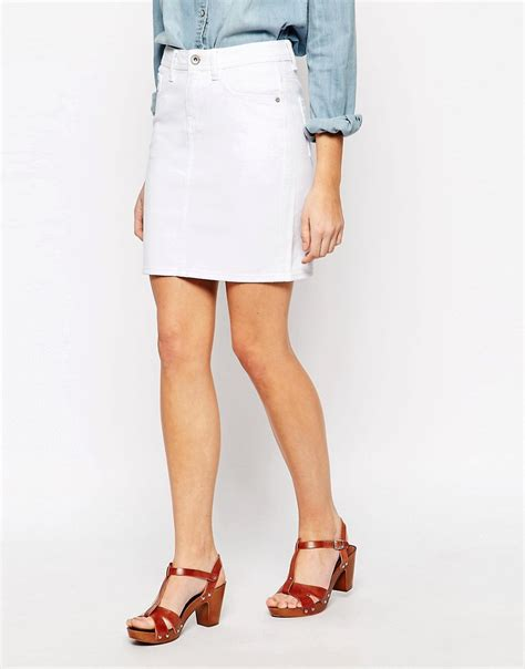 new look new look white denim mini skirt at asos
