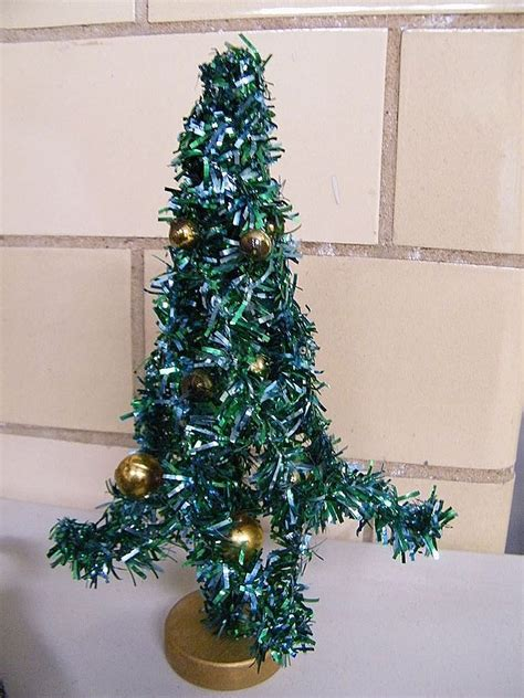 mid century green foil christmas tree 8 quot decorated with