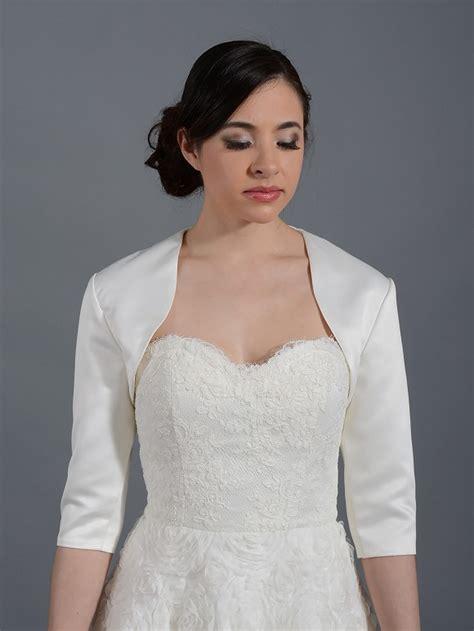 braut bolero ivory ivory 3 4 sleeve wedding satin bolero jacket satin009 ivory