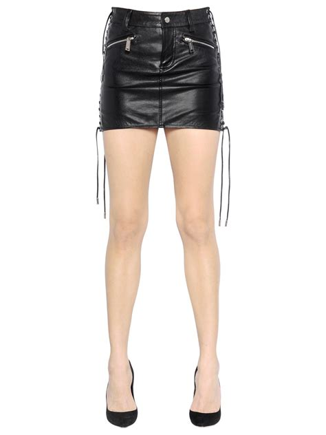 dsquared 178 lace up nappa leather mini skirt in black save