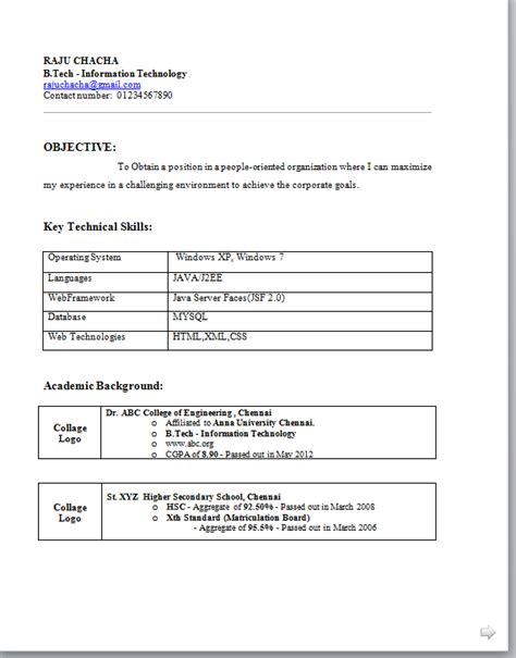Resume Format For Freshers Download B Tech Freshers Resume Format